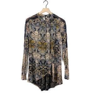 Free People Nouveau Draped Lace Tunic Blouse Large